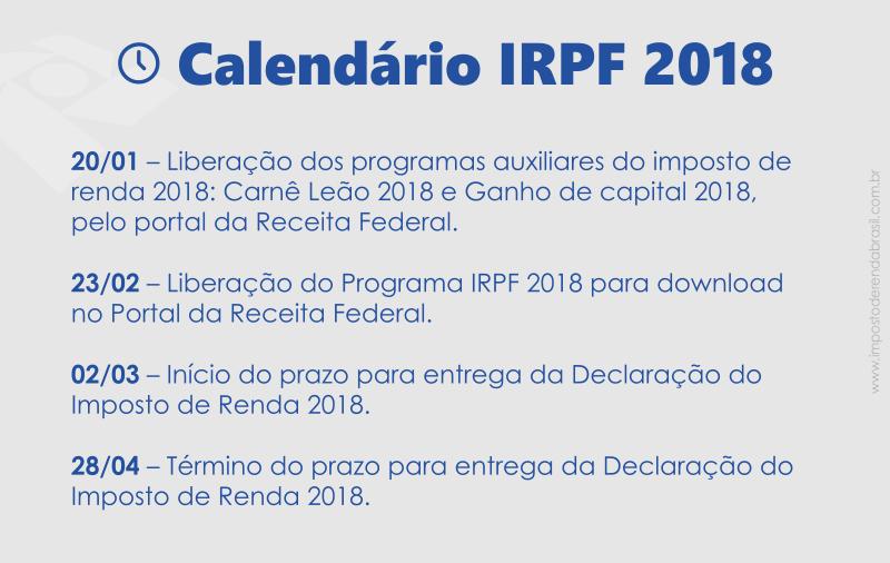 Prazos do imposto de Renda 2018 - Confira o Calendário