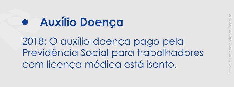 Auxílio Doença recebido da Previdência Social a Trabalhadores de Licença Médica é Isento e não precisa Pagar